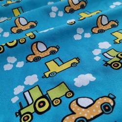 trikookangas pikkuautot sininen